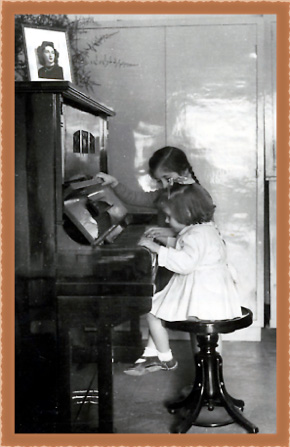 Young orphan girls playing the piano